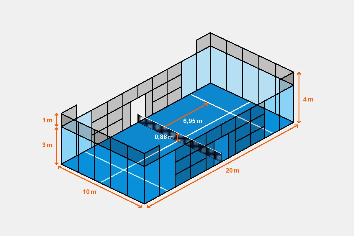 Grafik eines Padel-Tennisplatzes