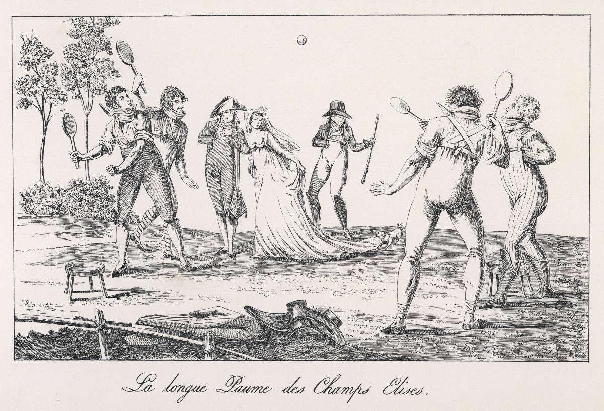 Foto mehrerer Personen beim Jeu de Paume
