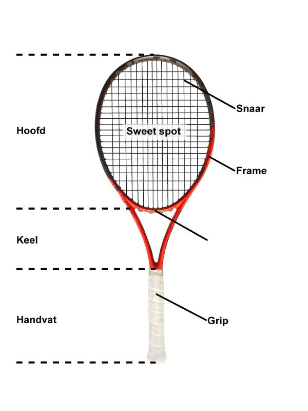 Grafiek van de structuur van een tennisracket