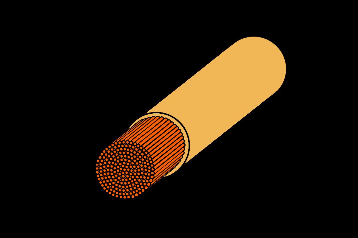 Grafik vom Querschnitt einer Multifilament Tennissaite