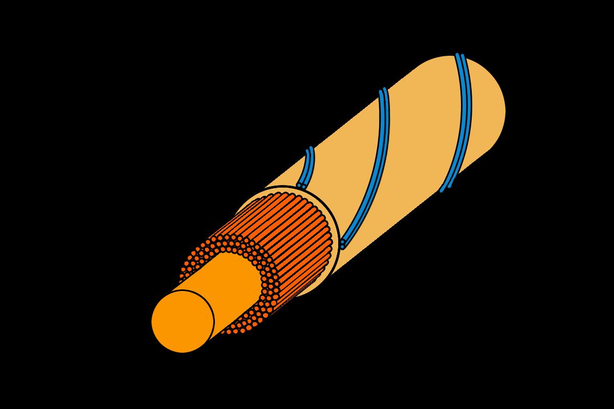 Grafik vom Querschnitt einer strukturierten Tennissaite